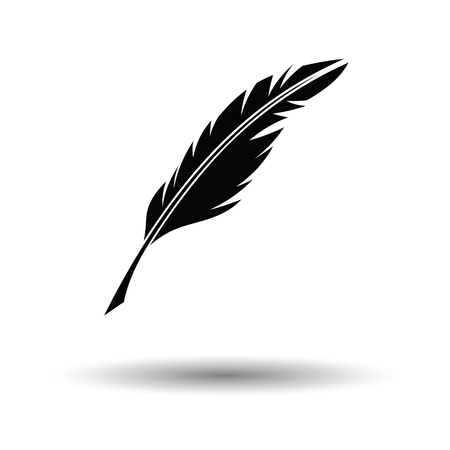 Writing feather icon. White background with shadow design. Vector illustration.