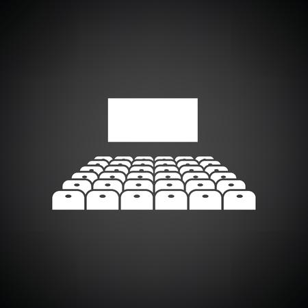 auditorium: Cinema auditorium icon. Black background with white. Vector illustration. Illustration