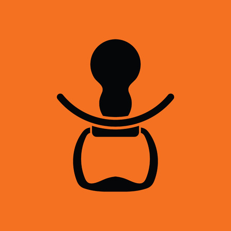 Soother icon. Orange background with black. Vector illustration.