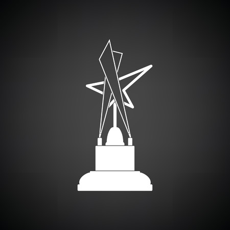 statuette: Cinema award icon. Black background with white. Vector illustration.