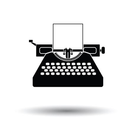 Typewriter icon. White background with shadow design. Vector illustration.