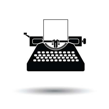 Typewriter icon. White background with shadow design. Vector illustration.