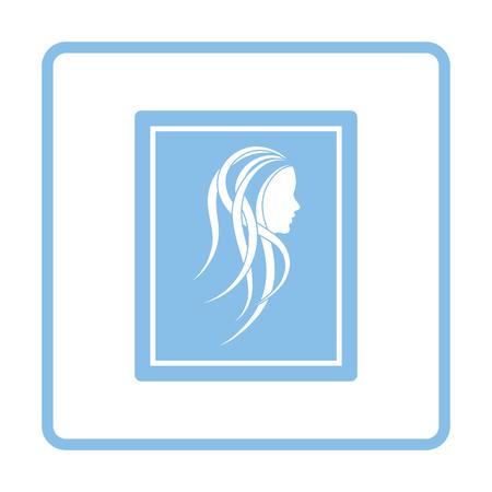 pic  picture: Portrait art icon. Blue frame design. Vector illustration.