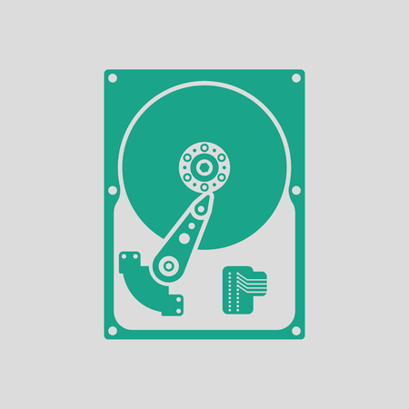 sata: HDD icon. Gray background with green. Vector illustration.