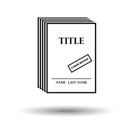 novels: Manuscript under review icon. White background with shadow design. Vector illustration.