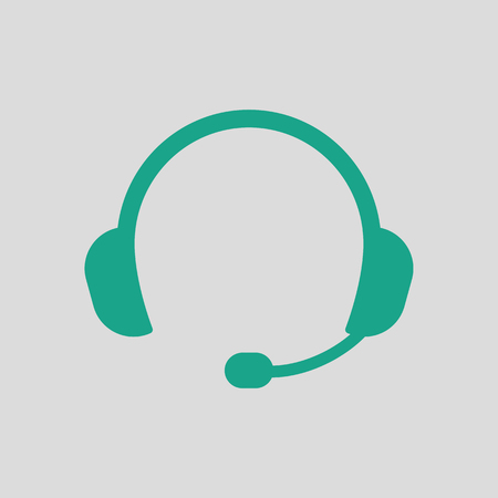 Headset icon. Gray background with green. Vector illustration.