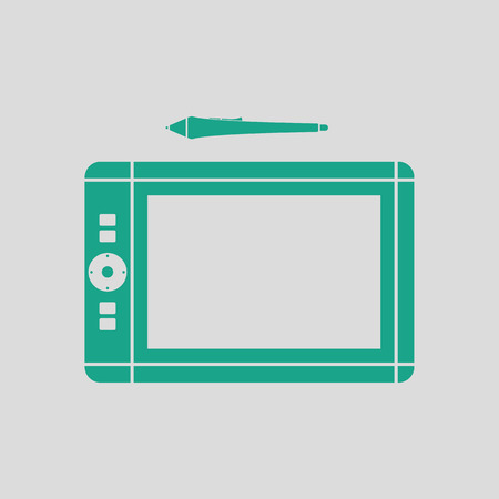 graphic tablet: Graphic tablet icon. Gray background with green. Vector illustration.