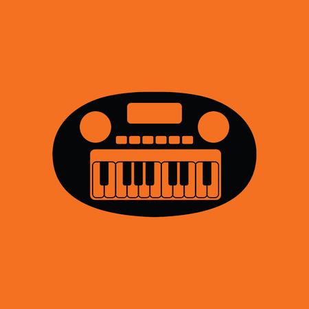 Synthesizer toy icon. Orange background with black. Vector illustration.