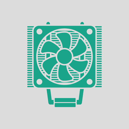 heat sink: CPU Fan icon. Gray background with green. Vector illustration.