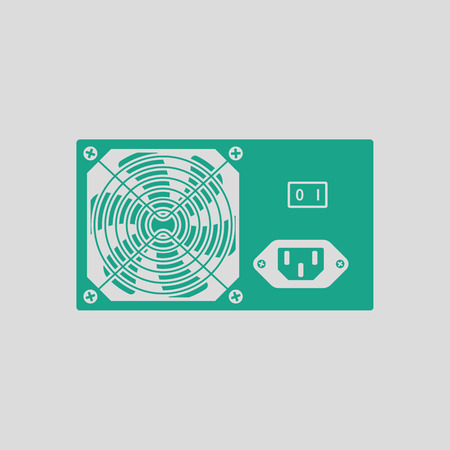 psu: Power unit icon. Gray background with green. Vector illustration.