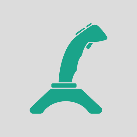 Joystick icon. Gray background with green. Vector illustration.