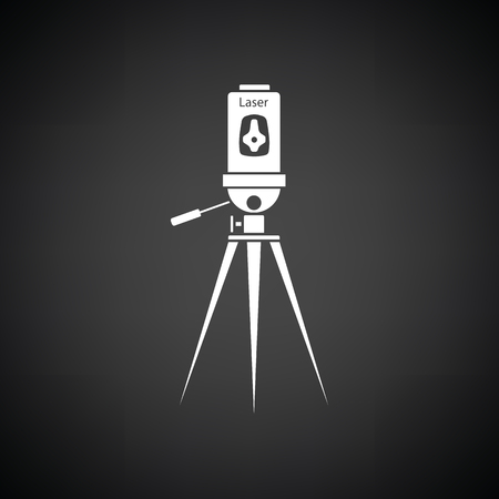 Laser level tool icon. Black background with white. Vector illustration. Illustration