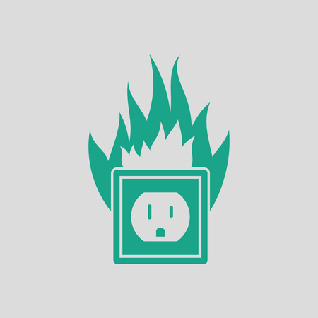 electric outlet: Electric outlet fire icon. Gray background with green. Vector illustration.