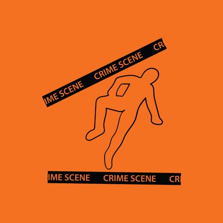 csi: Crime scene icon. Orange background with black. Vector illustration.