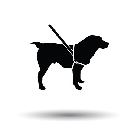 impaired: Guide dog icon. Black background with white. Vector illustration.