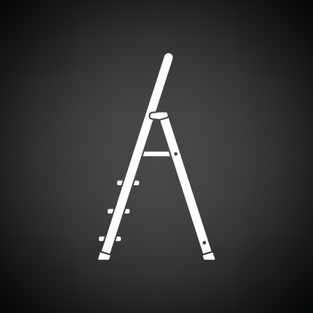aluminum: Construction ladder icon. Black background with white. Vector illustration.
