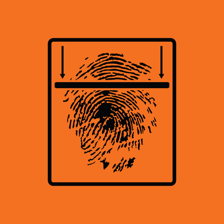 odcisk kciuka: Fingerprint scan icon. Orange background with black. Vector illustration. Ilustracja