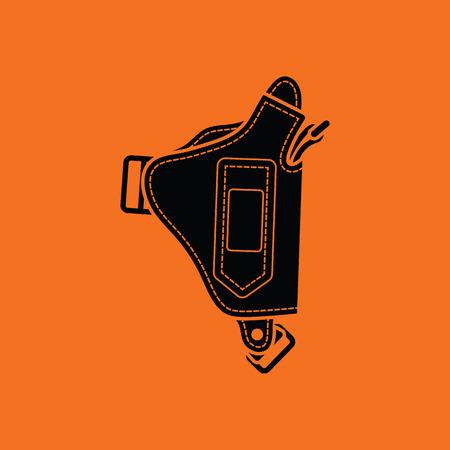 holster: Police holster gun icon. Orange background with black. Vector illustration. Illustration