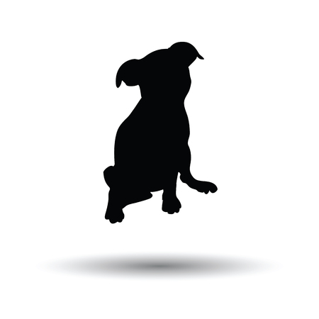 whelp: Puppy icon. Black background with white. Vector illustration. Illustration
