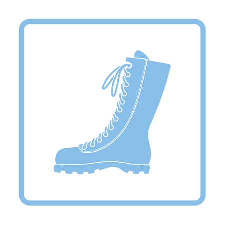 hiking boot: Hiking boot icon. Blue frame design. Vector illustration.