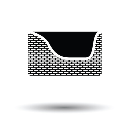 mutt: Dogs sleep basket icon. Black background with white. Vector illustration.