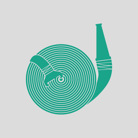 extinguish: Fire hose icon. Gray background with green. Vector illustration. Illustration