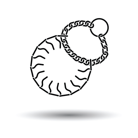 spiked: Dogs strict collar icon. Black background with white. Vector illustration.