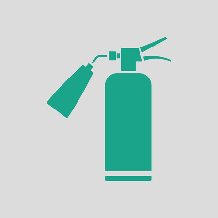 suppression: Fire extinguisher icon. Gray background with green. Vector illustration.