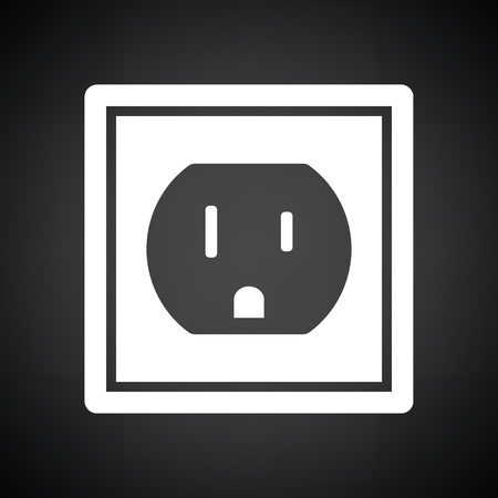 receptacle: Electric outlet icon. Black background with white. Vector illustration. Illustration