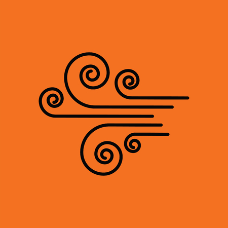 wind icon: Wind icon. Orange background with black. Vector illustration.
