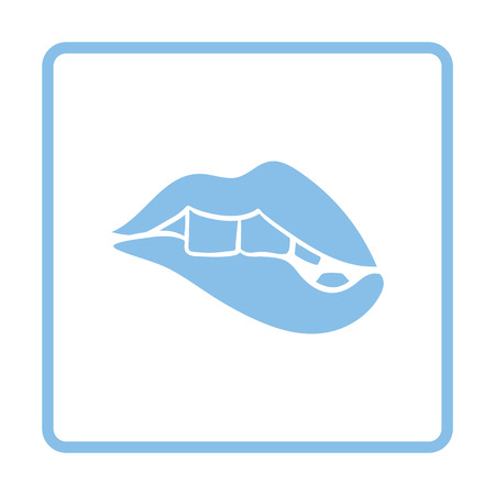 dominant: Sexy lips icon. Blue frame design. Vector illustration.