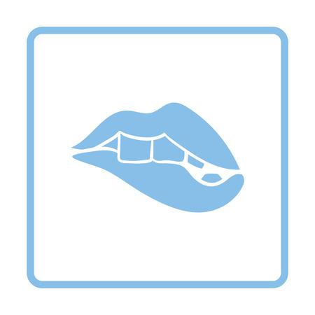 pornography: Sexy lips icon. Blue frame design. Vector illustration.
