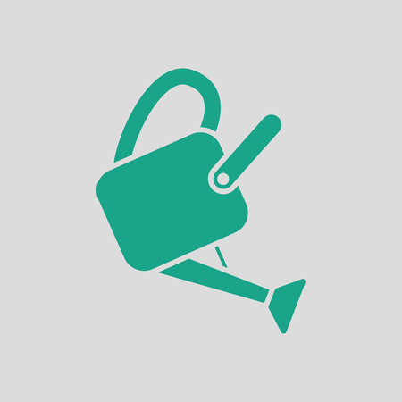 Watering can icon. Gray background with green. Vector illustration. Illustration