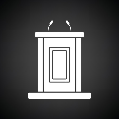witness: Witness stand icon. Black background with white. Vector illustration. Illustration