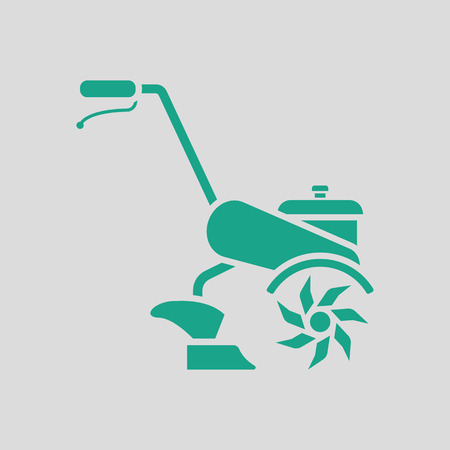 plow: Garden tiller icon. Gray background with green. Vector illustration.