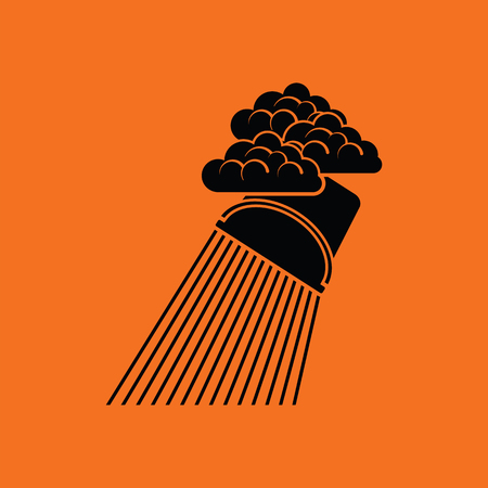 raincloud: Rainfall like from bucket icon. Orange background with black. Vector illustration. Illustration