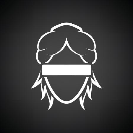 Femida head icon. Black background with white. Vector illustration.