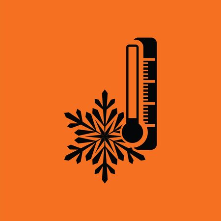 cold background: Winter cold icon. Orange background with black. Vector illustration. Illustration