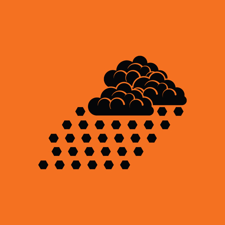 Hail icon. Orange background with black. Vector illustration.