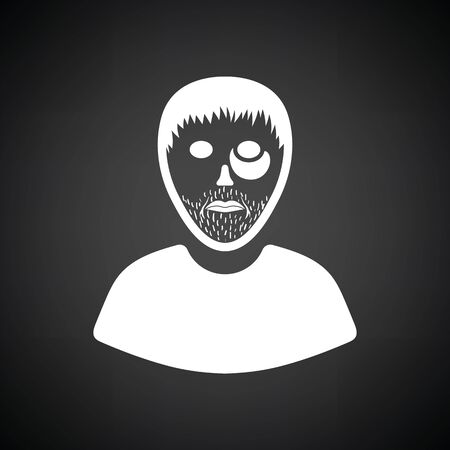 Criminal man icon. Black background with white. Vector illustration. Illustration