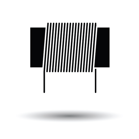 solder: Inductor coil icon. White background with shadow design. Vector illustration.