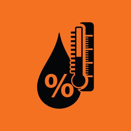 relatives: Humidity icon. Orange background with black. Vector illustration.