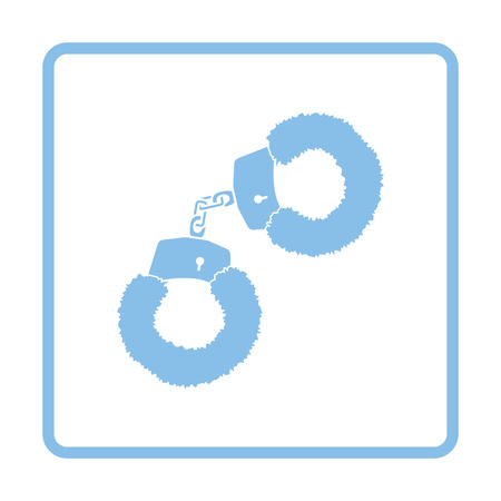 Sex handcuffs with fur icon. Blue frame design. Vector illustration.