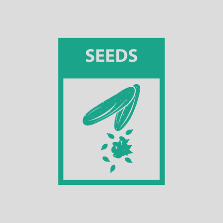 long bean: Seed pack icon. Gray background with green. Vector illustration. Illustration