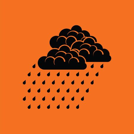 rainfall: Rainfall icon. Orange background with black. Vector illustration.