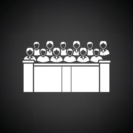 jurado: icono jurado. Fondo negro con blanco. Ilustración del vector.
