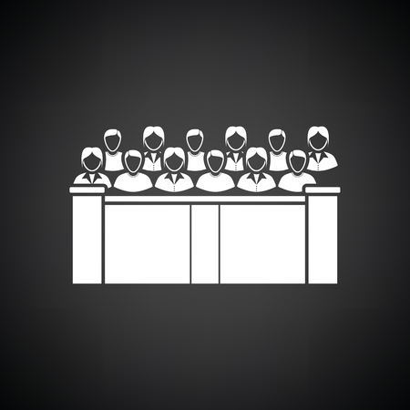 jurors: Jury icon. Black background with white. Vector illustration.