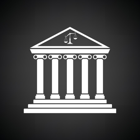 courthouse: Courthouse icon. Black background with white. Vector illustration.
