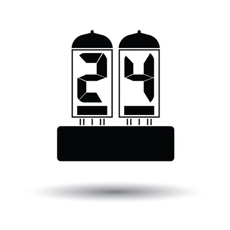 readout: Electric numeral lamp icon. White background with shadow design. Vector illustration. Illustration