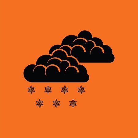 Snow icon. Orange background with black. Vector illustration.